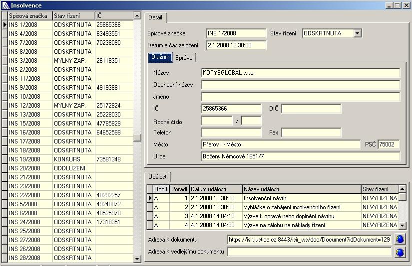 Insolvenční údaje z rejstříku